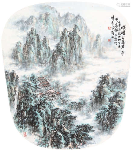 李硕卿(1908-1993) 峨眉山万年寺 立轴 设色纸本