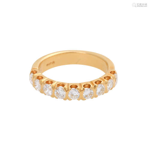 Halbmemory Ring, ca. 1,02 ct(grav.), FW (G) / VS, GG 18K, RW 54, leichte Tragespuren.Gewicht 5,