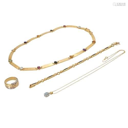 Schmuckkonvolut 4-teilig,Händlerkonvolut bestehend aus 1 Ring, 1 Kette mit Anhänger, 1 Collier und 1