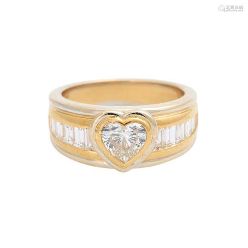 Diamantring Herzschliff ca. 0,95 ct,GET (M) / SI1, sowie weitere Diamanten im Baguetteschliff von