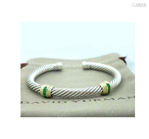 David Yurman 5mm Cable Classic Double-Station Emerald
