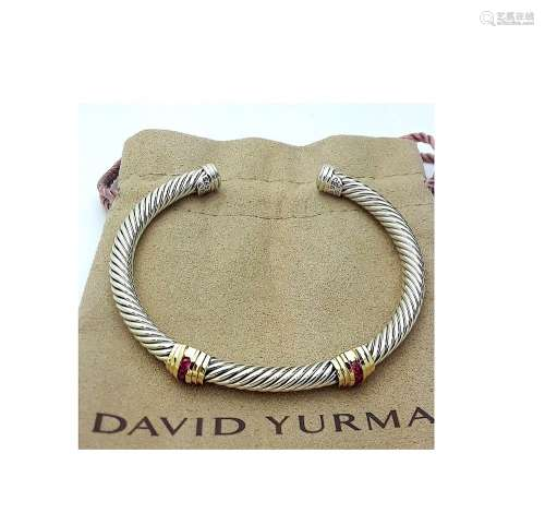 David Yurman Sterling Silver &14K Gold Double Stations