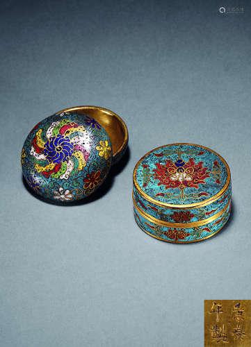 明 铜胎掐丝珐琅香盒 (两只)