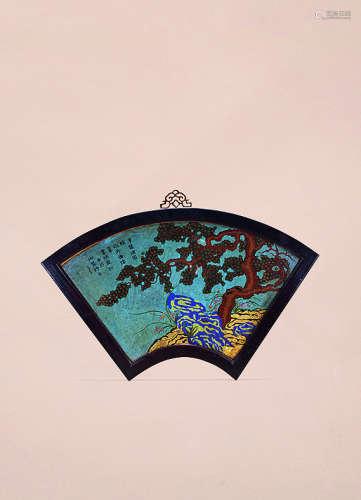 清乾隆 掐丝珐琅松石纹扇形挂屏