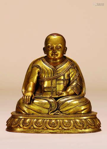 明 铜鎏金上师像
