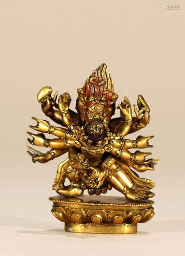 清 铜鎏金欢喜佛造像