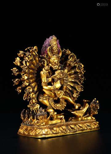 清 铜鎏金金刚护法造像
