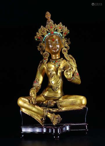 清乾隆 铜鎏金绿度母坐像