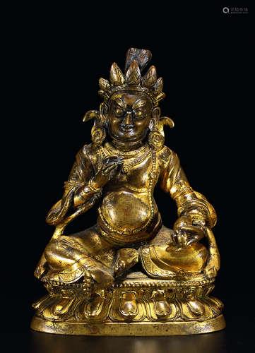清乾隆 铜鎏金黄财神坐像