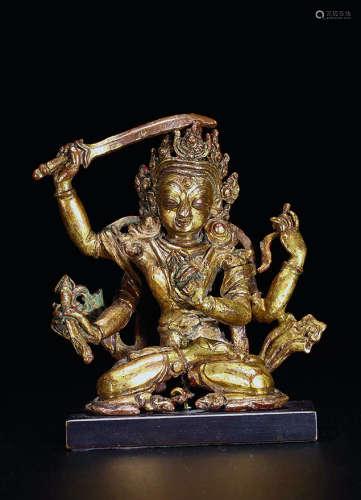 17世纪 铜鎏金文殊菩萨