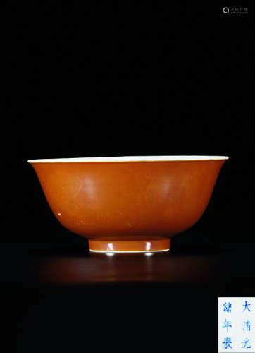 清光绪 酱釉碗