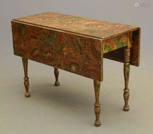 19th c. Dropleaf Table In Vinegar Paint Decoration
