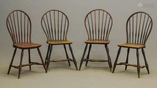 Set Of (4) 18th c. Windsor Chairs