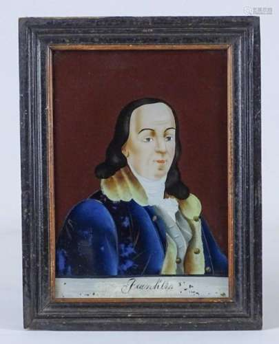 19th c. Reverse Painting Of Ben Franklin