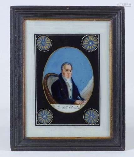 19th c. Reverse Painting Of DeWitt Clinton