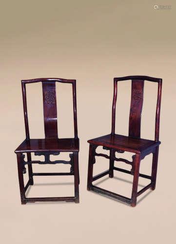 清 红木寿字纹单背椅 (一对)