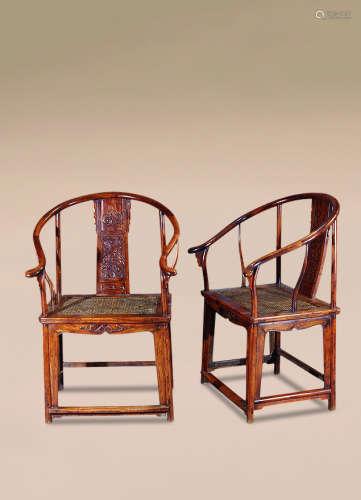 清 黄花梨雕螭龙纹圈椅 (一对)