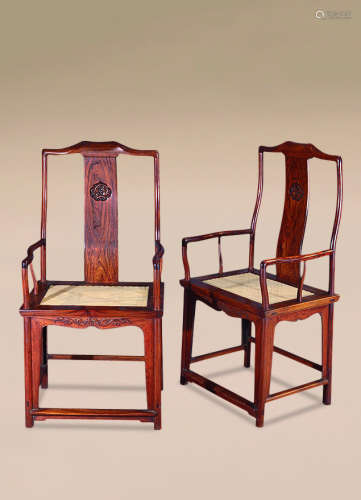 清 黄花梨雕螭龙纹官帽椅 (一对)