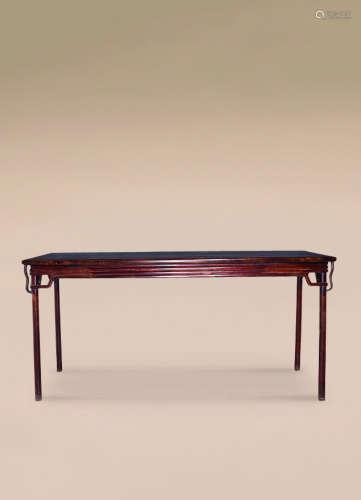 清 红木圆包圆条桌