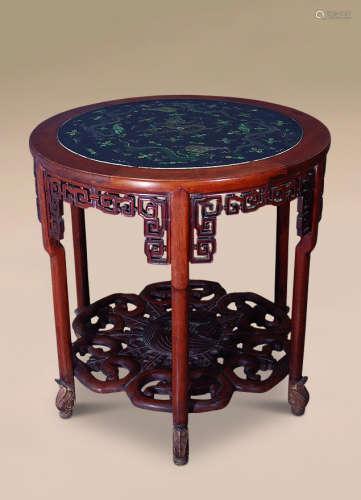 清 黄花梨嵌龙纹瓷板六角圆桌