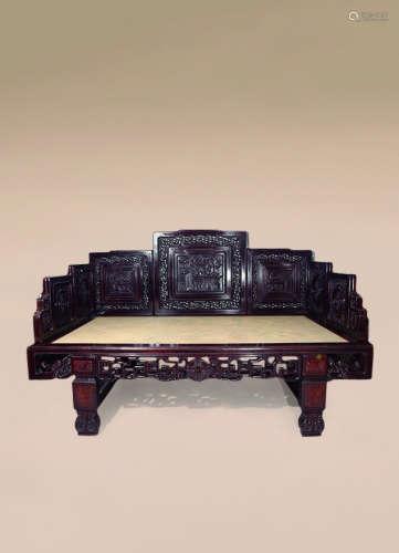 清 红木雕七屏风罗汉床