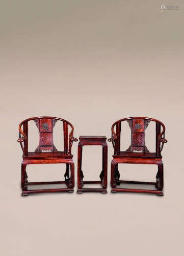 黄花梨圈椅(带花几) (一对)