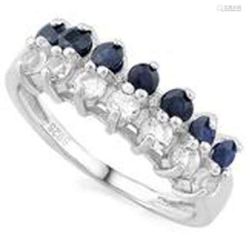 GENUINE BLUE/WHITE SAPPHIRE CLASSIC LADIES RING