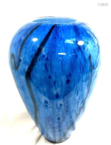 GORGEOUS SHADES OF BLUE TALL ART GLASS DECO VASE