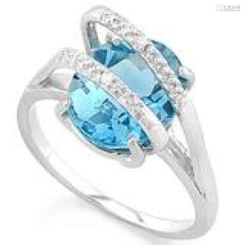 AMAZING DIAMOND ACCENT PEAR CUT BLUE TOPAZ RING