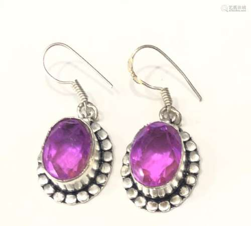 PRETTY FACETED PINK CRYSTAL STERLING EARRINGS