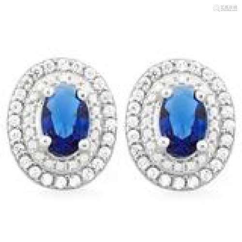 SPARKLY DEEP BLUE AND WHITE CZ OVAL SET EARRINGS