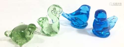LOT OF 4 ADORABLE COLOR GLASS ART GLASS ANIMALS