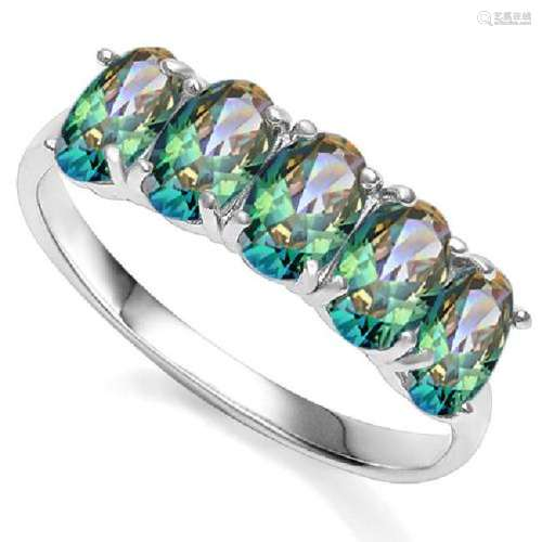 SUPERB MYSTIC TOPAZ 2CT GEMSTONE ROW RING