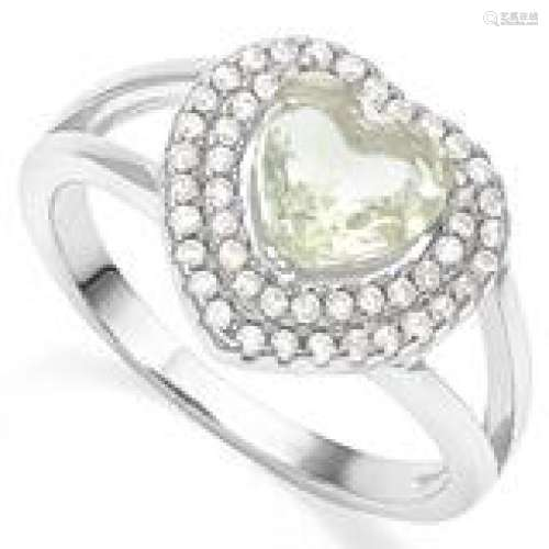 PRETTY HEART CUT GREEN AMETHYST 1CT ESTATE RING