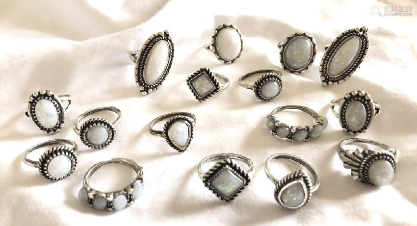 LOT OF 16 ASSORTED FIRE OPAL COSTUME JEWELRY RINGS