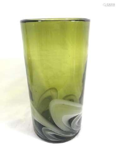 FANTASTIC VINTAGE GREEN/WHITE SWIRL DECO VASE