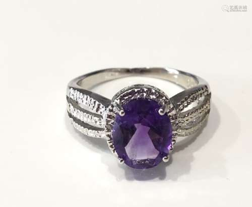 SHIMMERING RAISED SET 3CT OVAL LAVENDAR AMETHYST RING