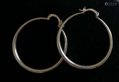 BEAUTIFUL STERLING SILVER LADIES HOOP EARRINGS
