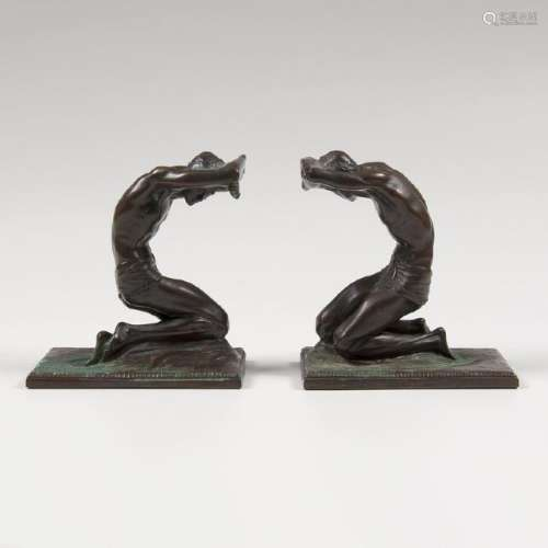 Isidore Konti (Hungarian, 1862-1938) Bronze Bookend