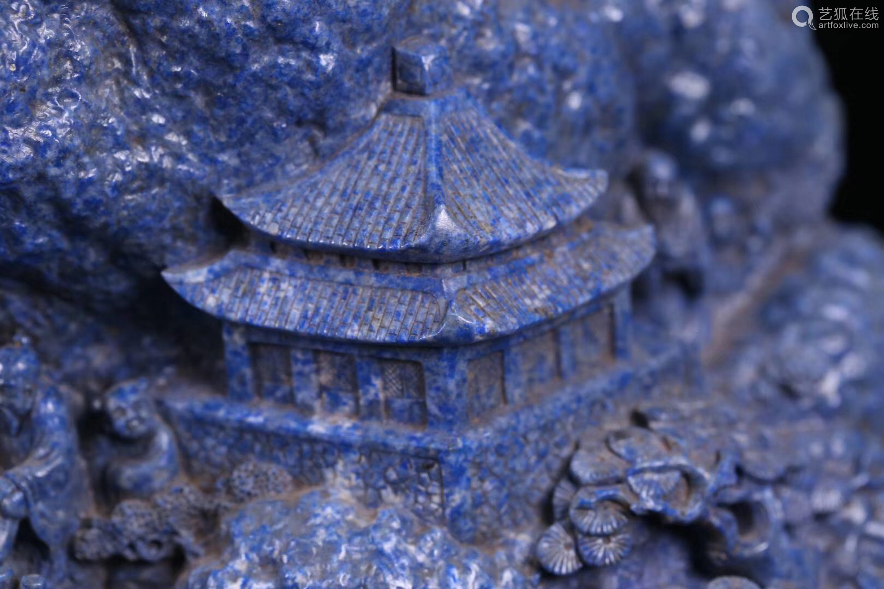 A LAZULI STONE CARVED MOUNTAIN ORNAMENT