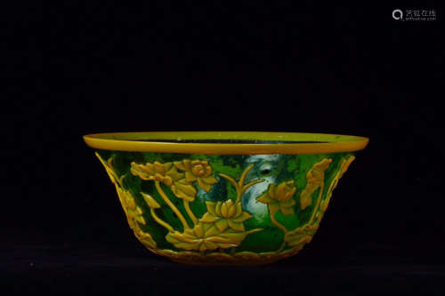 17-19TH CENTURY, A FLORAL PATTERN COLOURED GLAZE BOWL , QING DYNASTY