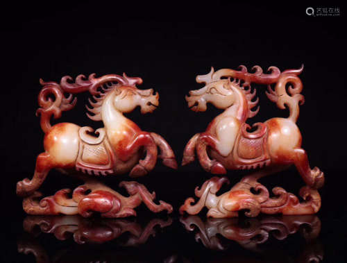 202BC-220AD, A PAIR OF OLD TIBETAN HORSE&SWALLOW DESIGN HETIAN JADE ORNAMENTS, HAN DYNASTY