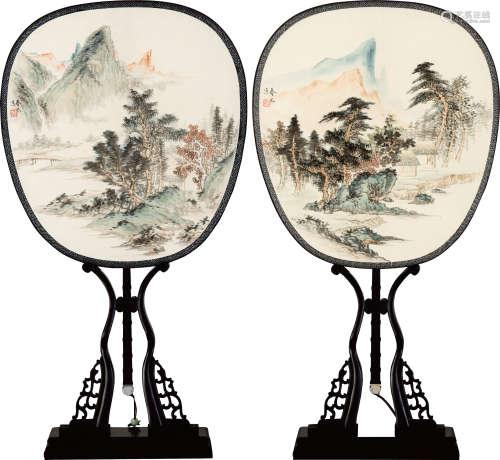 李岩 山水宫扇两幅 设色绢本 成扇