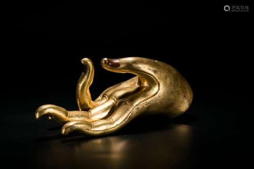 A Gilt-Bronze Buddha Hand