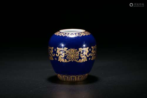 A Fine Blue-Glazed Gilt Water Pot