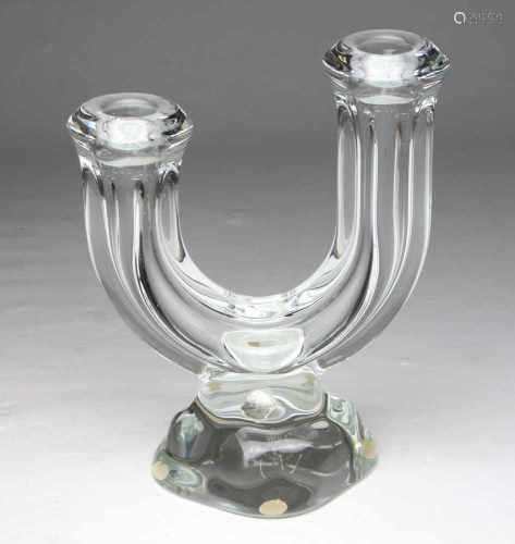 Kristall Leuchterfarbloses Kristallglas mundgeblasen, geschnittener Boden mit Ätzmarke Art Vannes