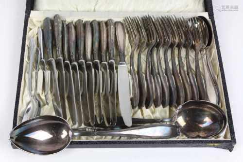 Kreuzband Besteck für 10 Personen u.a.Metall versilbert, Gowe für Christ. Gottlieb Wellner,