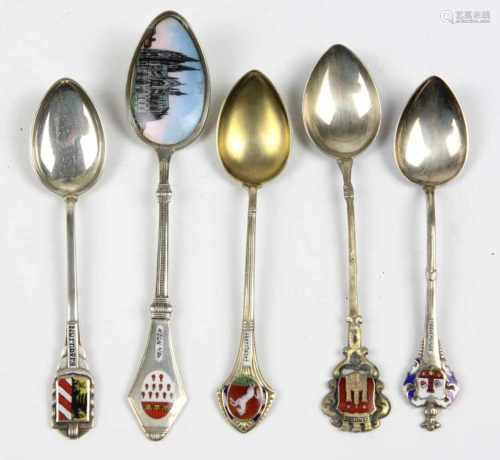 5 Andenkenlöffel Silberpunziert, Silber 800, verschieden ausgeführte Andenkenlöffel Köln,
