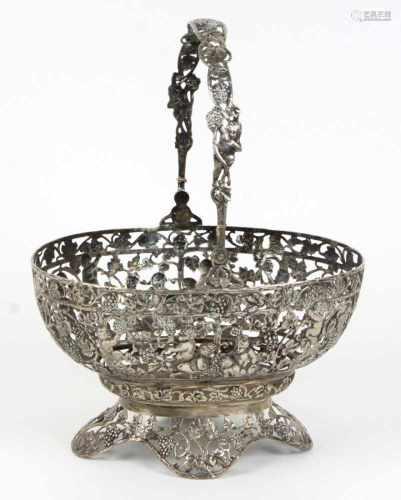 Henkelschale - Silber 800punziert, Silber 800 dt. mit Halbmond & Krone, ovale bombierte sowie