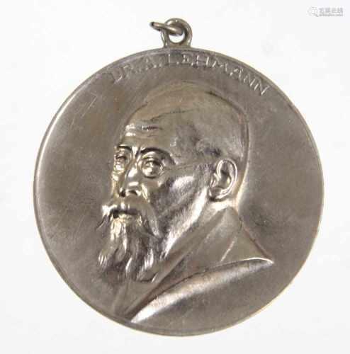 Medaille Wettin Bundesschiessen 1922Reliefbrustbild Dr. A. Lehmann, verso 7-zeilige Aufschrift *XII.